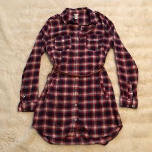 Forever 21 Belted Red & Navy Plaid Shirt Dress S